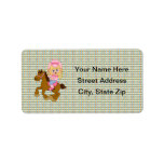 Cowgirl Riding Horse (pink) Personalized Address Labels