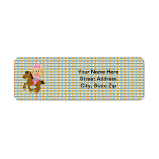 Cowgirl Riding Horse (pink) Return Address Labels