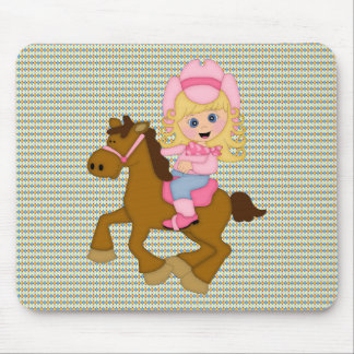 Cowgirl Riding Horse (pink) Mouse Pad