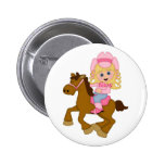 Cowgirl Riding Horse (pink) Pinback Button