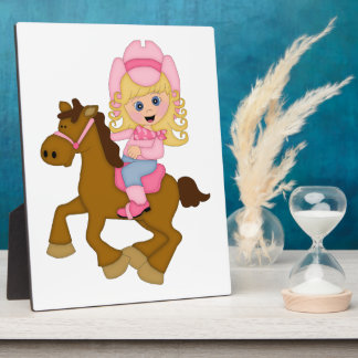 Cowgirl Riding Horse (pink) Plaques