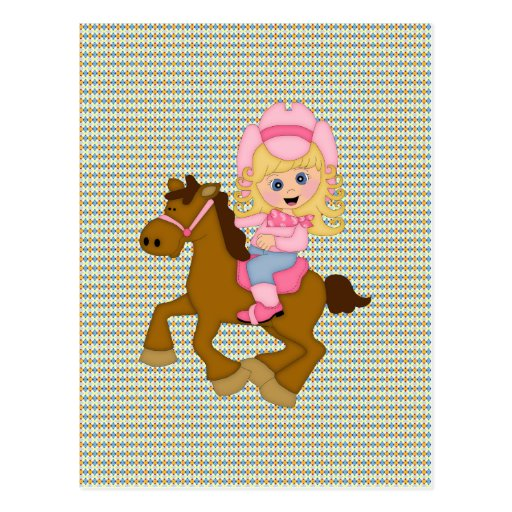 Cowgirl Riding Horse (pink) Post Cards