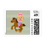 Cowgirl Riding Horse (pink) Postage Stamp