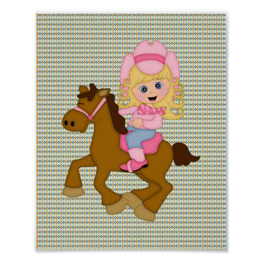 Cowgirl Riding Horse (pink) Poster
