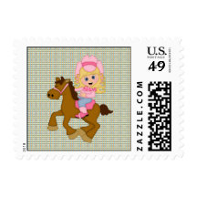Cowgirl Riding Horse (pink) Stamp