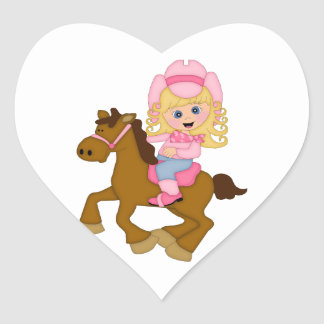 Cowgirl Riding Horse (pink) Heart Sticker