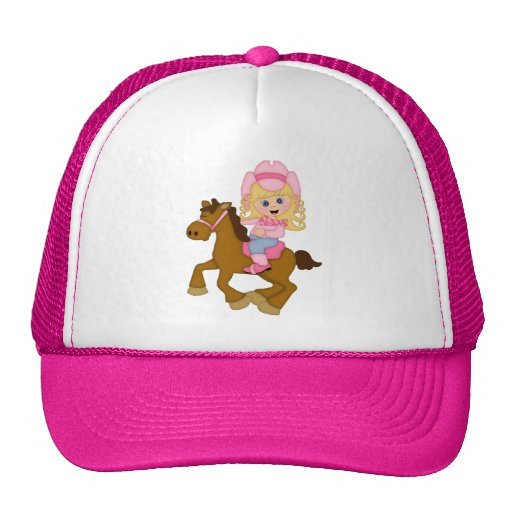 Cowgirl Riding Horse (pink) Trucker Hat