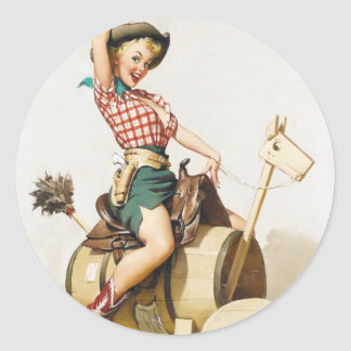 Cowgirl Riding Pin Up Round Sticker