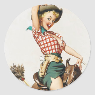 Cowgirl Riding Pin Up Round Stickers