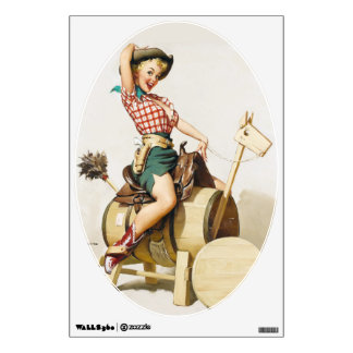 Cowgirl Riding Pin Up Room Decal
