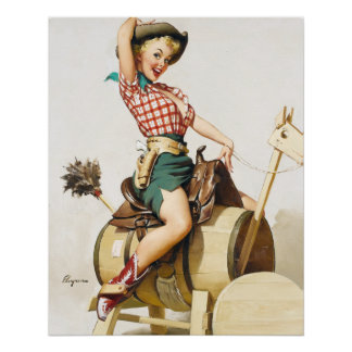 Cowgirl Riding Pin Up Perfect Poster