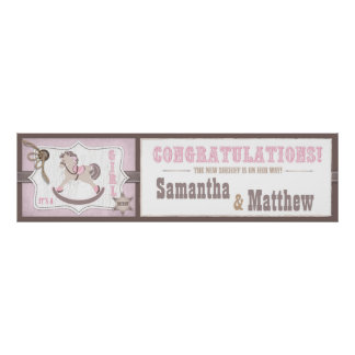 Cowgirl Rocking Horse Baby Shower Banner Poster