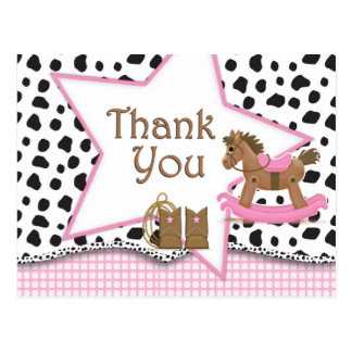 Cowgirl Rocking Horse Postcard Thank You