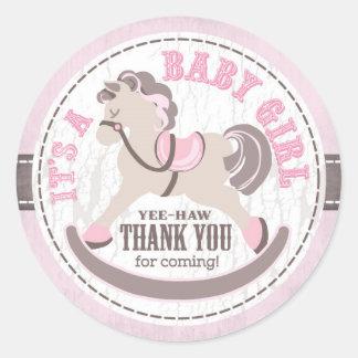 Cowgirl Rocking Horse Western Baby Shower Classic Round Sticker