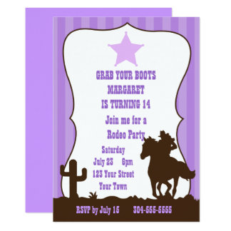 Cowgirl Rodeo Birthday Party Card