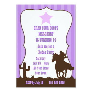 Cowgirl Rodeo Birthday Party 5x7 Paper Invitation Card