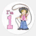 Cowgirl Roper 1st Birthday Classic Round Sticker