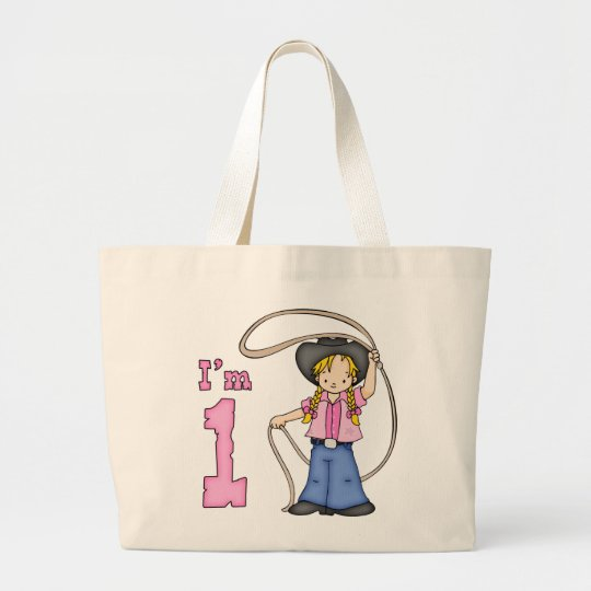 Cowgirl Roper 1st Birthday Large Tote Bag