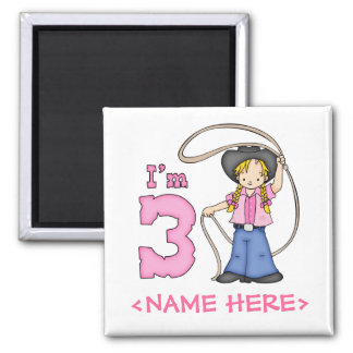 Cowgirl Roper 3rd Birthday 2 Inch Square Magnet