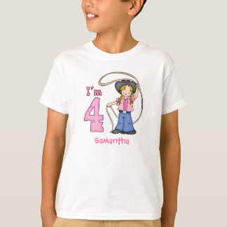 Cowgirl Roper 4th Birthday Personalized T-Shirt
