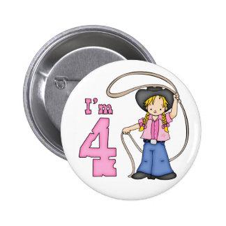 Cowgirl Roper 4th Birthday Pinback Button