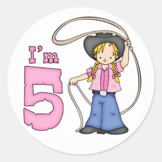 Cowgirl Roper 5th Birthday Classic Round Sticker
