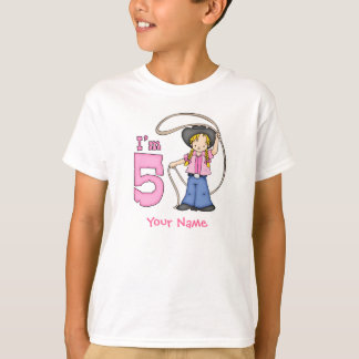 Cowgirl Roper 5th Birthday Personalized T-Shirt