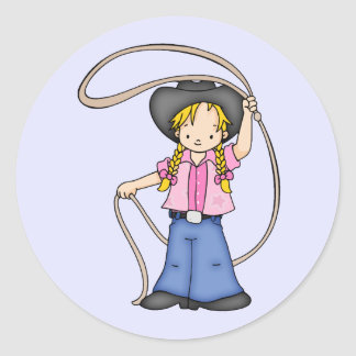 Cowgirl Roper Classic Round Sticker