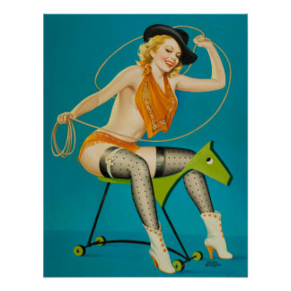 Cowgirl Roping the Horse Pin Up Print