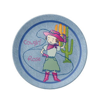 Cowgirl Rose Rodeo Lasso Tricks Plate
