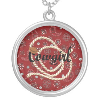 Cowgirl Round Pendant Necklace