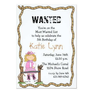 Cowgirl Roundup Birthday Party Invitation