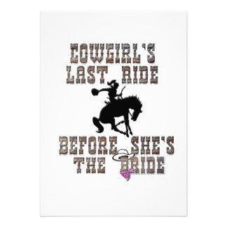 Cowgirl s Last Ride Before She s The Bride Personalized Invitation