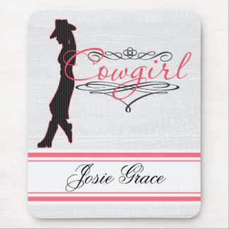 """Cowgirl"" Shabby Chic in Frilly Pink Personalized Mouse Pad"