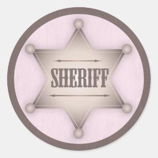 Cowgirl Sheriff Badge Western Baby Shower Classic Round Sticker