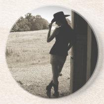 Cowgirl Silhouette Sandstone Coaster Home Decor Gi