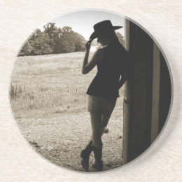 Cowgirl Silhouette Sandstone Coaster Home Decor Gi