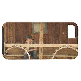 Cowgirl sitting on ranch porch iPhone SE/5/5s case