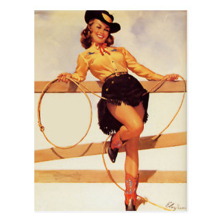 Cowgirl Smiling Pin Up Postcard