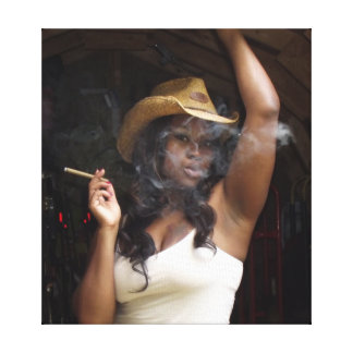 cowgirl smoking picture canvas print