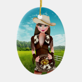 Cowgirl - SRF Double-Sided Oval Ceramic Christmas Ornament