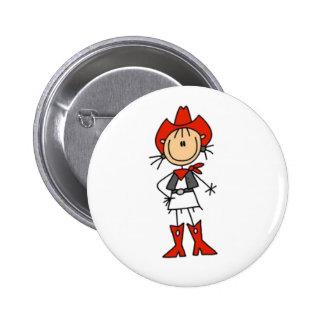 Cowgirl Stick Figure Button