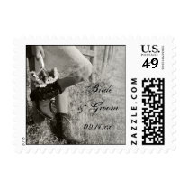 Cowgirl Sunflowers Country Wedding Postage Stamp