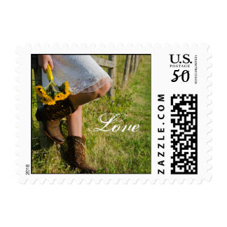 Cowgirl Sunflowers Country Western Wedding Love Postage