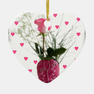 Cowgirl Sweetheart Pink Hearts Western Boot Ceramic Ornament