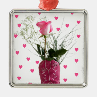Cowgirl Sweetheart Pink Hearts Western Boot Metal Ornament
