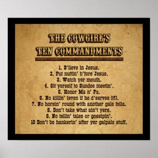 Cowgirl Ten Commandments Poster