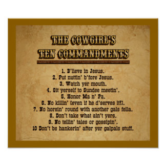 Cowgirl Ten Commandments Posters