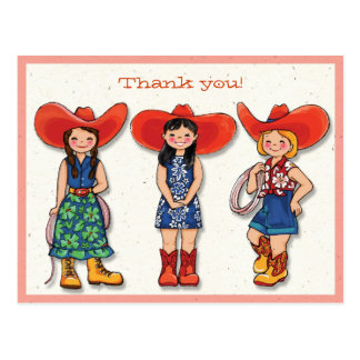 Cowgirl Thank you! Card Postcard