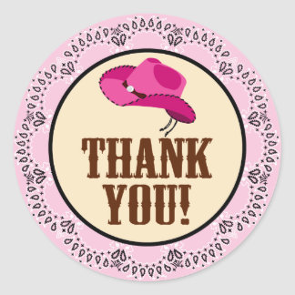Cowgirl Thank You Stickers